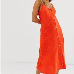 ASOS DESIGN midi cami dress faux wood buttons